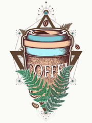 Coffee cups and fern color tattoo and t-shirt design. Pop culture style, symbol of energy and awakening