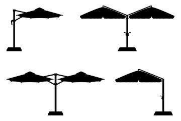 Obraz large sun umbrella for bars and cafes on the terrace or the beach black outline silhouette vector illustration - fototapety do salonu