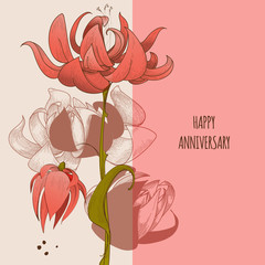Fototapete - Floral greeting card, cute flowers anniversary congratulation message