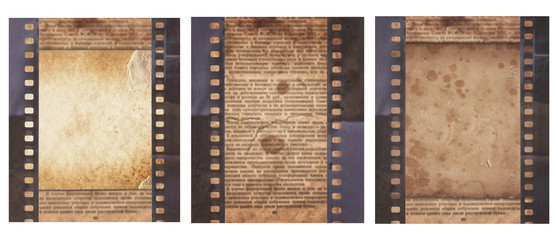 Set of various Old Vintage background with retro newspaper and old film strip isolated