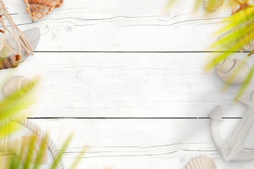 Summer travel background. White wooden desk with sea shells, boat anchor and life belt. Palm leaves above. Copy space in the middle.