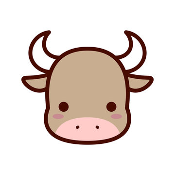 Cartoon Bull Icon Isolated On White Background
