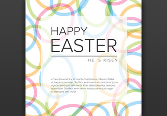 Happy Easter Card Layout with Egg Accents