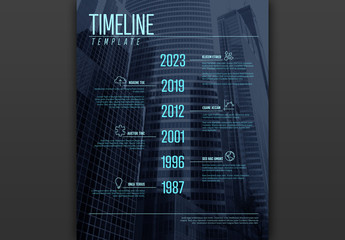 Timeline Layout with Blue Accents and City Background