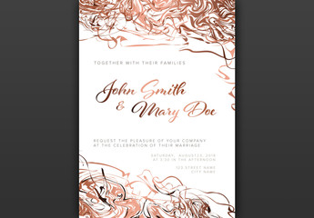 Wedding Invitation Layout with Abstract Copper Pink Elements