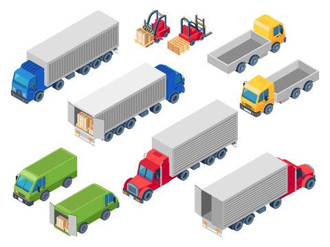 Trucking logistic isometric trucks. Loading truck, cargo container transportation lorry and trailer loader. Van cars 3d vector illustration