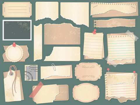 Old scrapbook paper. Crumpled papers pages, vintage scrapbooks papers and retro photo book scraps vector illustration