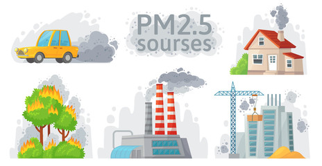Air pollution source. PM 2.5 dust, dirty environment and polluted air sources infographic vector illustration Fotobehang