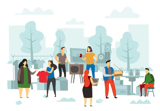 Flea market shopping. Fleas bazaar, people selling fashion clothes and street trading flat vector illustration