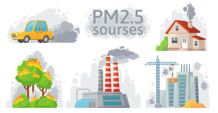 Air pollution source. PM 2.5 dust, dirty environment and polluted air sources infographic vector illustration