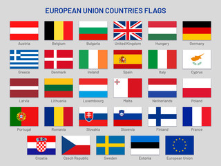 European Union countries flags. Europe travel states, EU member country flag vector set