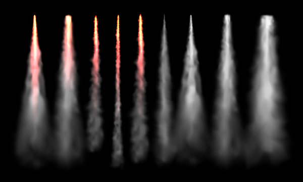 Rockets tracks. Space rocket launch smoke, plane jets track and aircraft smoke cloud realistic vector set