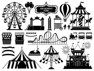 Amusement park silhouette. Carnival parks carousel attraction, fun rollercoaster and ferris wheel attractions vector icons set