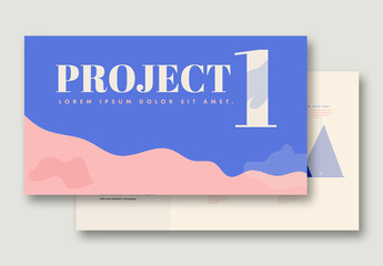 Presentation Layout with Blue and Pink Elements