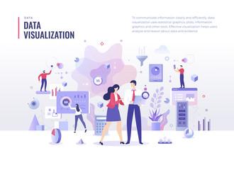 Data Visualization Flat Illustration Concept Wall mural