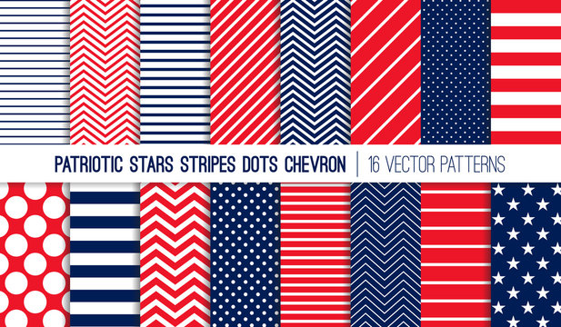 Patriotic Red White Blue Stars, Stripes, Polka Dots and Chevron Vector Patterns. July 4th Independence Day Backgrounds. Diagonal, Horizontal and Zigzag Stripes. Pattern Tile Swatches Included.