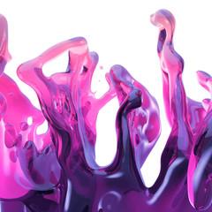 Wall Mural - 3d render, neon splash, pink liquid, drink splashing, design element isolated on white background