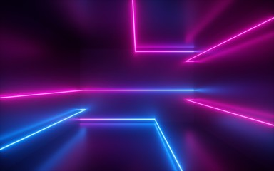 3d render, pink blue neon lines, geometric shapes, virtual space, ultraviolet light, 80's style,...
