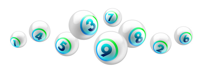 Vector shiny white lottery / bingo ball number from 1 to 9 isolated on white background