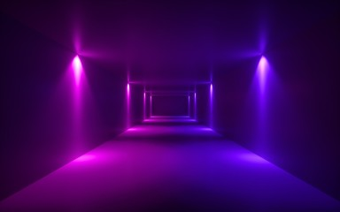 3d render, neon violet light, illuminated corridor, tunnel, empty space, ultraviolet light, 80's retro style, fashion show stage, abstract background Fototapete