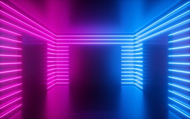 3d render, pink neon lines, square shapes inside empty room, virtual space, ultraviolet light, 80's...
