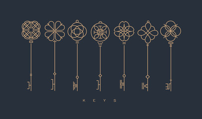 Modern graphic key collection gray