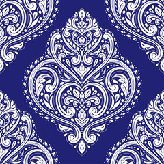 White and blue floral seamless pattern. Vintage vector, luxury elements. Great for fabric, invitation, flyer, menu, brochure, background, wallpaper, decoration, packaging or any desired idea.