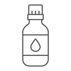 Essential oil thin line icon, aromatherapy and cosmetic, aromatic oil sign, vector graphics, a linear pattern on a white background.