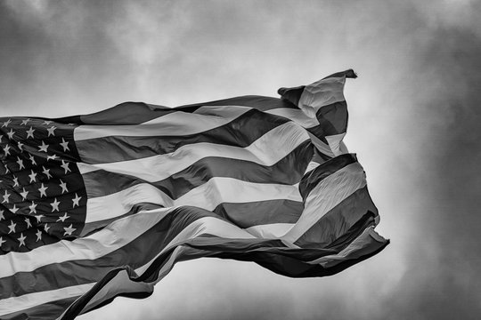 The American Flag Flapping in the Wind