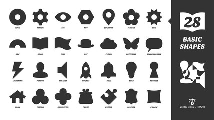 Basic glyph shapes icon set with simple silhouette ring, pinion, eye, nut, location, flower, sun, arc, book, flag, hat, cloud butterfly, speech bubble and more black symbols.