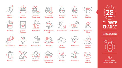 Climate change or global warming editable stroke outline danger red icon set with world disaster and catastrophe, globe nuclear and air co2 pollution, greenhouse effect, melting ice line ecology sign. Wall mural