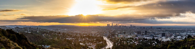 Panorama of the Los Angeles Skyline at Sunrise