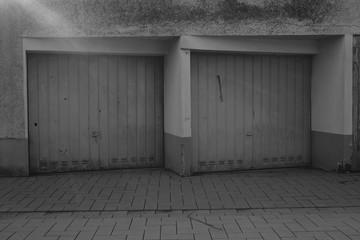 Garage building greyscale