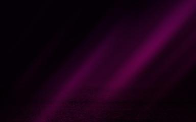 Empty background scene. Dark street, reflection of pink neon light on wet asphalt. Rays of light in the dark, smoke. Night view of the street, the city. Abstract dark purple background.