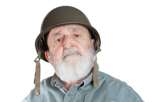 senior soldier veteran isolated on white background