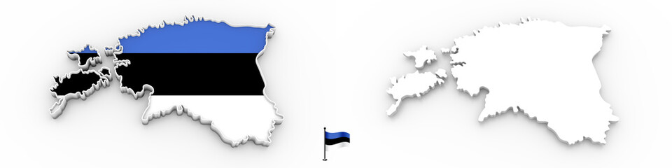 3D map of Estonia white silhouette and flag