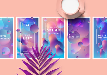 6 Social Media Posts with 3D Liquid Gradient Elements