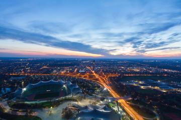 Fototapeta Panoramic view at Stadium of the Olympiapark in Munich, Germany