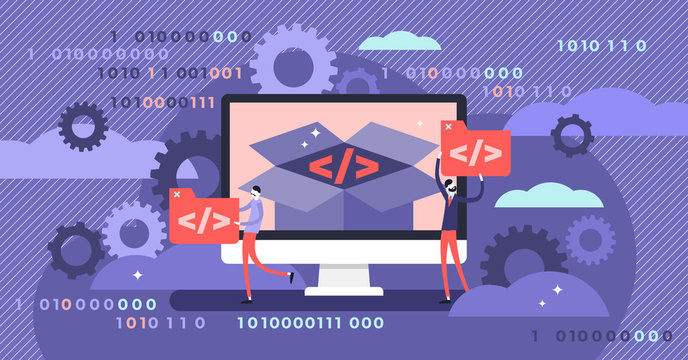Open source vector illustration. Tiny programming language persons concept.