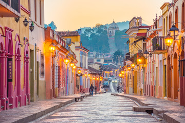 Beautiful streets and colorful facades of San Cristobal de las Casas in Chiapas, Mexico	 Wall mural