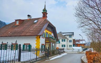 The old street in Bad Ischl, Salzkammergut, Austria