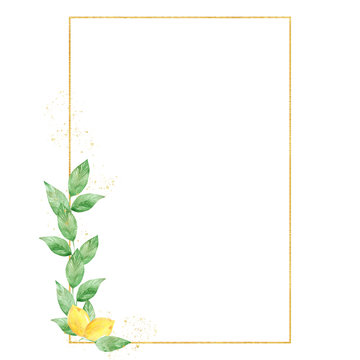 Watercolor greenery lemon frame in green and gold colors. Frame, border, background.