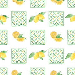 Watercolor handmade seamless pattern with yellow lemon fruit slices.