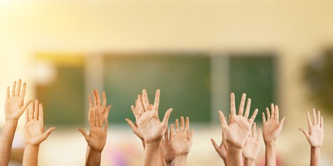 Set of raised hands, isolated