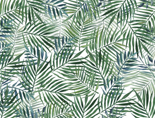 Poster Tropical Leaves Watercolor background with palm leaves.