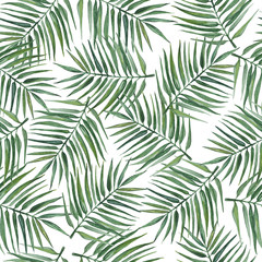 Foto op Canvas Tropische Bladeren Seamless pattern with palm leaves. Watercolor illustration.