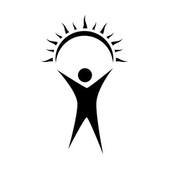 Man with rised hands holding a sun. Sun in hand. Vector sun and man web icon. Vector illustration