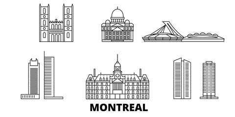 Canada, Montreal flat travel skyline set. Canada, Montreal black city vector panorama, illustration, travel sights, landmarks, streets. Fototapete