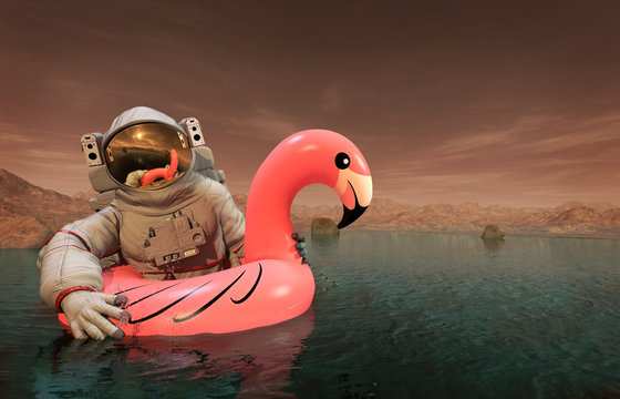 Astronaut with Pink Float Looking for Water on Mars - 3D illustration