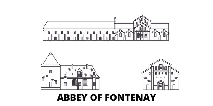 France, Abbey Of Fontenay  flat travel skyline set. France, Abbey Of Fontenay  black city vector panorama, illustration, travel sights, landmarks, streets.